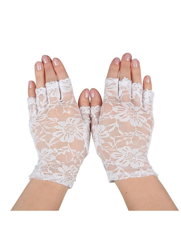 White Short Fingerless Lace Gloves