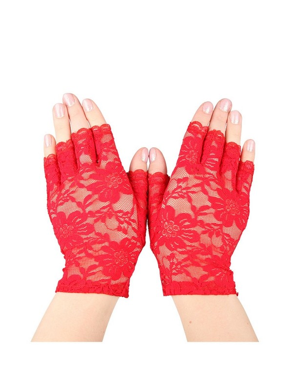 Red Short Fingerless Lace Gloves