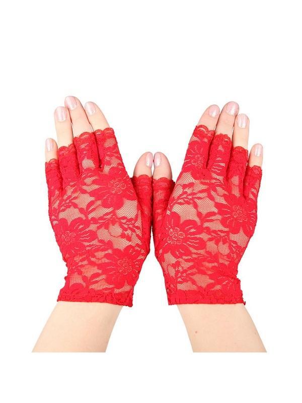 Red Short Fingerless Lace Gloves