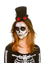 Adult Ladies Day Of The Dead Mini Top Hat With Flowers