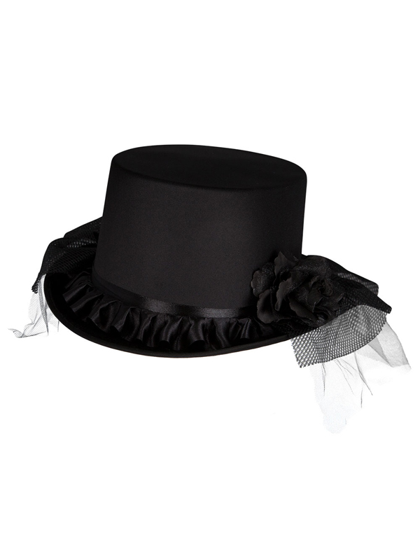 Adult Ladies Satin Top Hat With Veil & Flowers