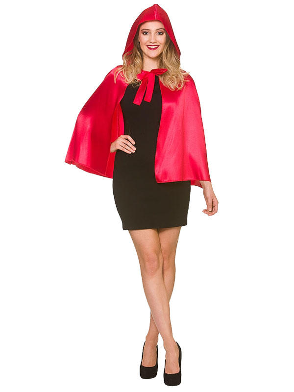 Short Satin Red Hooded Cape