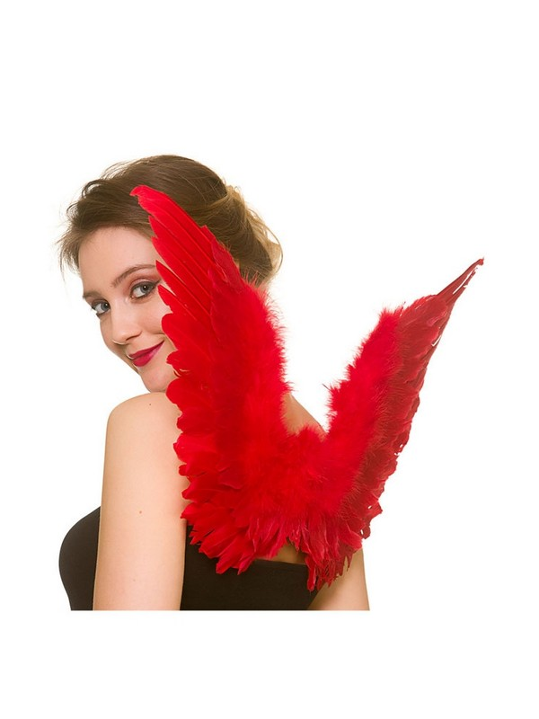 Adult Ladies Red Small Feather Wings