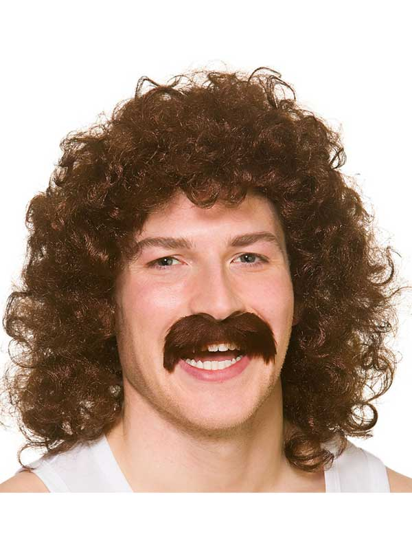 Adult Mens Perm Wig With Tash Brown