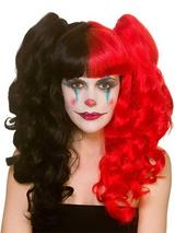 Adult Ladies Red & Black Bunches Harlequin Wig