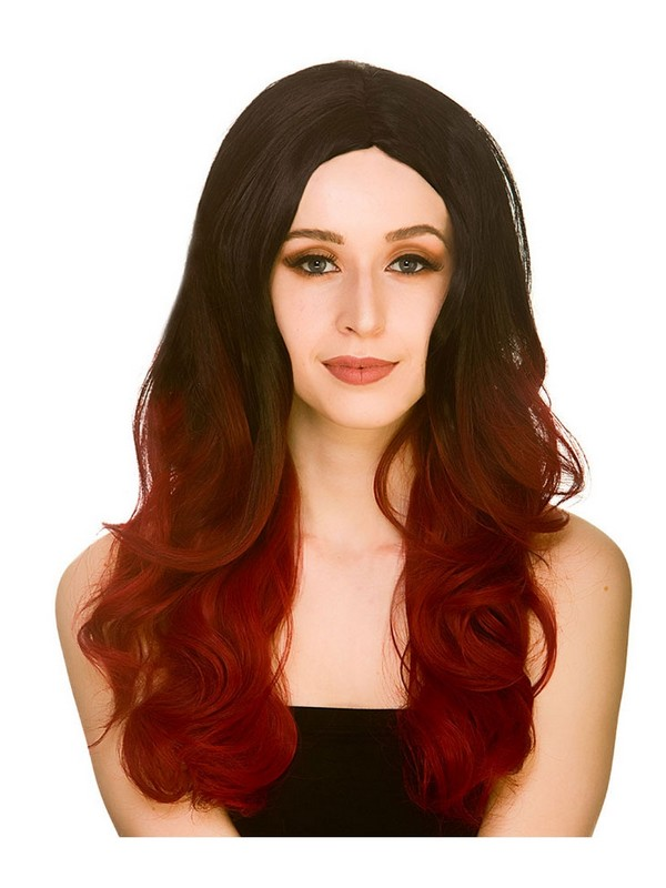 Adult Ladies Red Black L A Glamour Ombre Wig