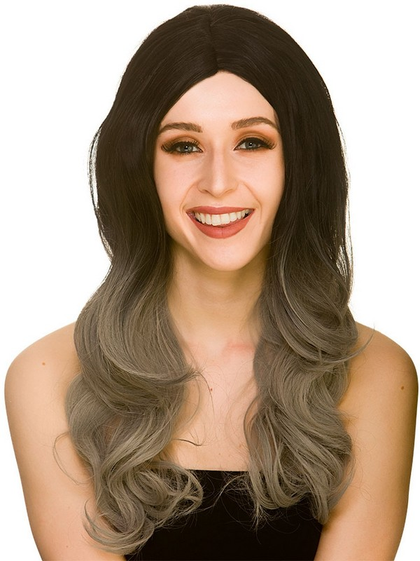 Adult Ladies Ombre Wig Black Grey