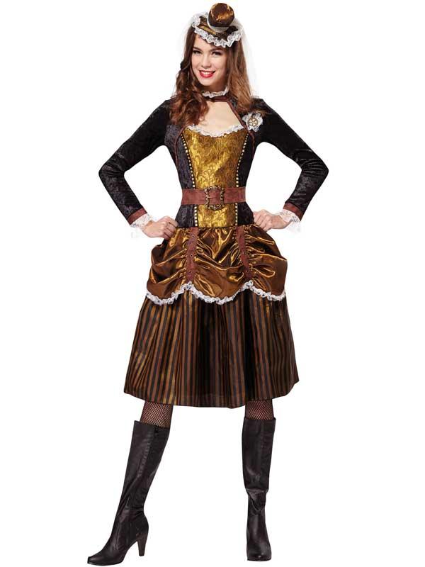 Femmes-Ste&unk-Costume-Lady-Femme-20-S-Victorien-  sc 1 st  eBay & Ladies Steampunk Lady Costume Womens 20s Victorian Sci-Fi Fancy ...