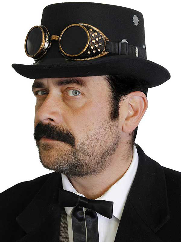 Adult Steampunk Top Hat (Black) With Goggles & Gears