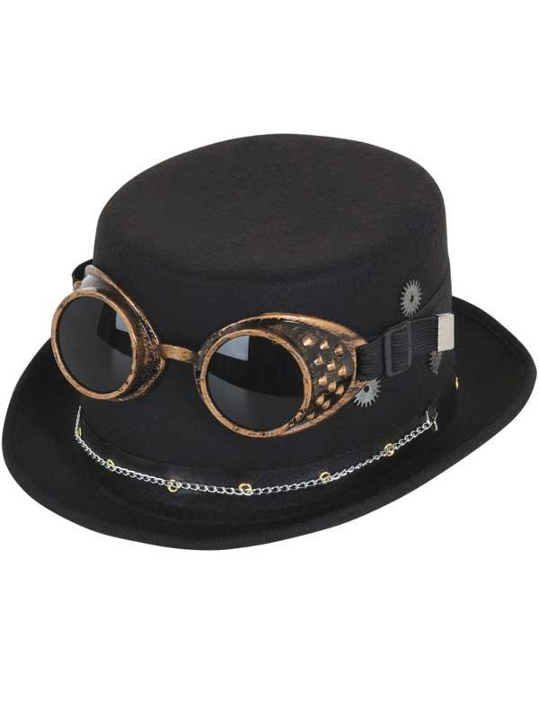 Adult Steampunk Top Hat (Black) With Goggles & Gears Thumbnail 2
