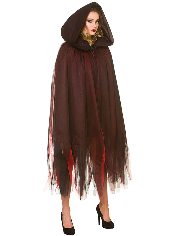 Deluxe Layered Hooded Cape Deep Red