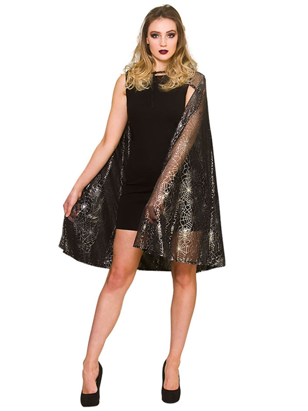 Shimmering Spider Web Witch Cape