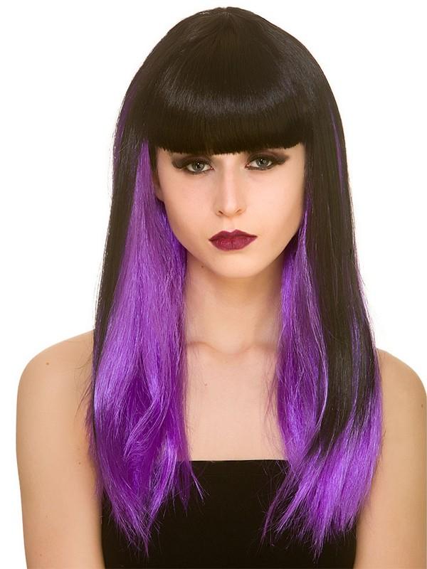 Adult Ladies Dark Fantasy Wig Black Purple