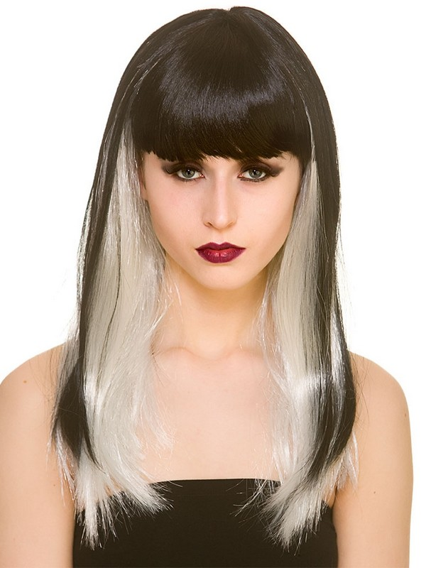 Adult Ladies Dark Fantasy Wig Black White