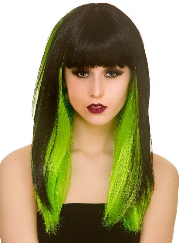 Adult Ladies Dark Fantasy Wig Black Green