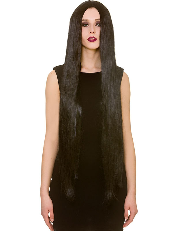 "Adult Ladies Classic Extra Long "" Black Wig"