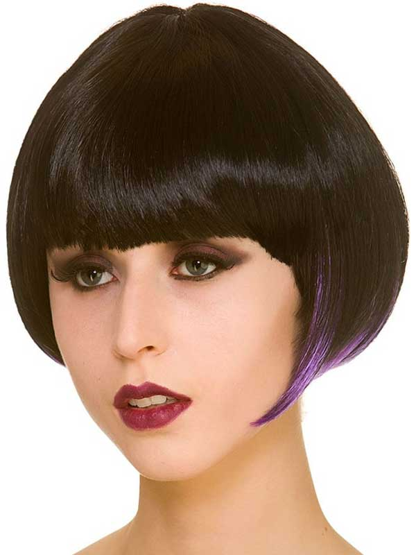 Adult Ladies Short Bob Wig Black Purple