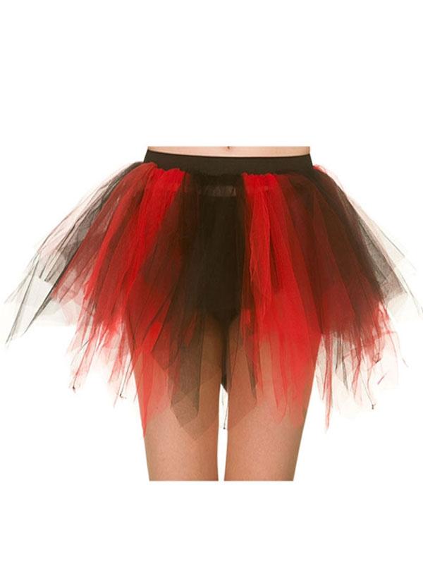 Adult Shredded Tutu Red Black