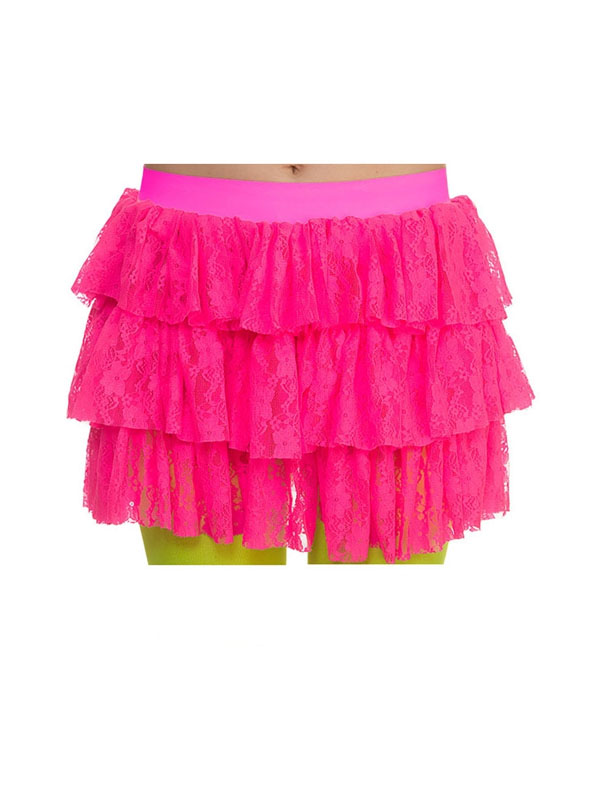 Adult 80's Lacey Ra Ra Skirt Hot Pink