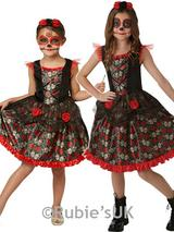 Child Girls Red Rose Day Of The Dead Costume