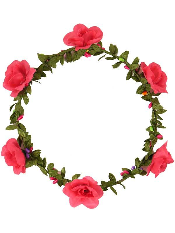 Adult Hawaiian Headband With Hot Pink Flowers Thumbnail 3