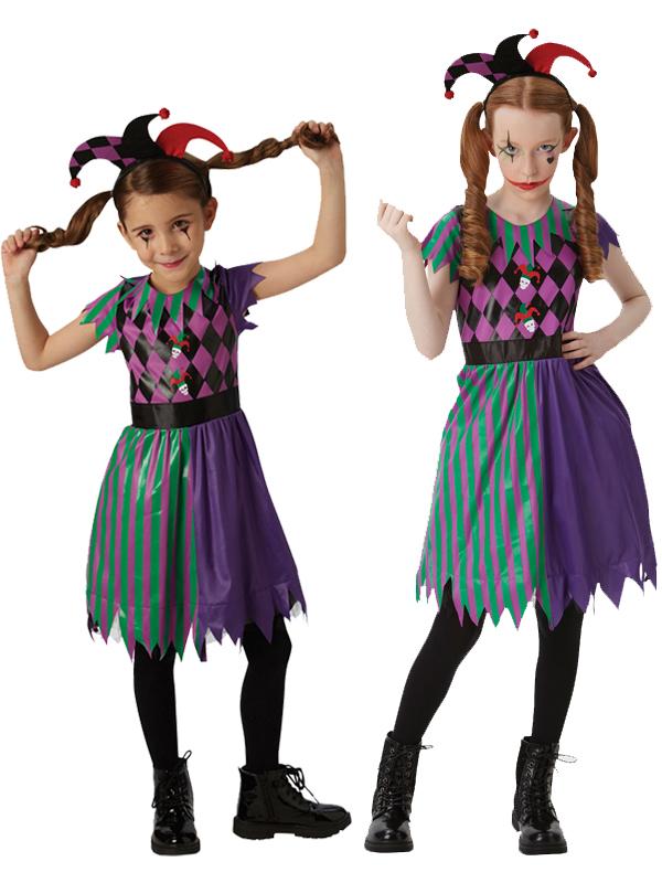 Child Girls Harlequin Jester Costume