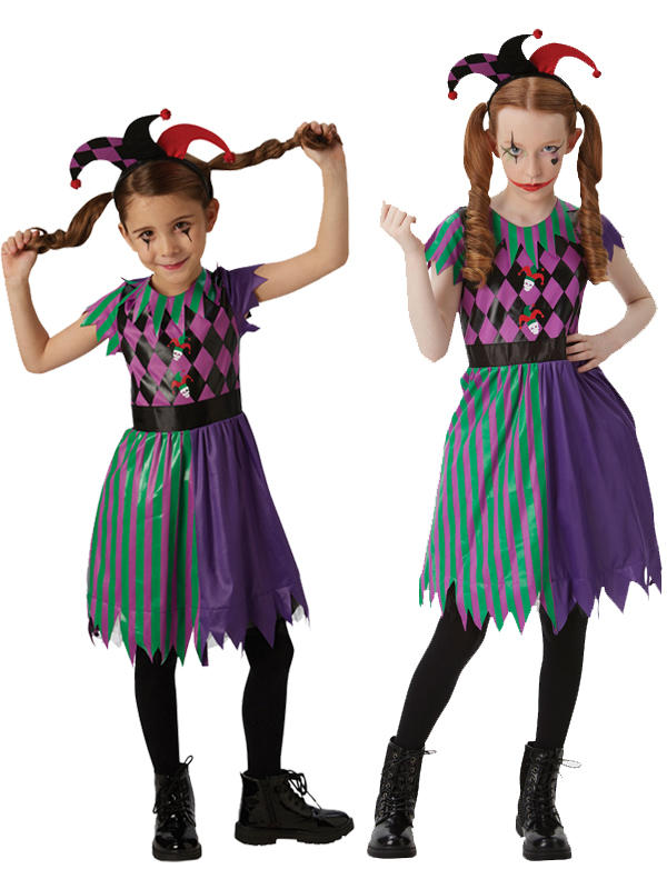 Child Girls Harlequin Jester Costume