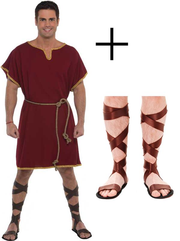 ecb1e0f1f9e Details about Adult Male Roman Greek Tunic Toga Warrior Fancy Dress Costume  + Sword + Sandals