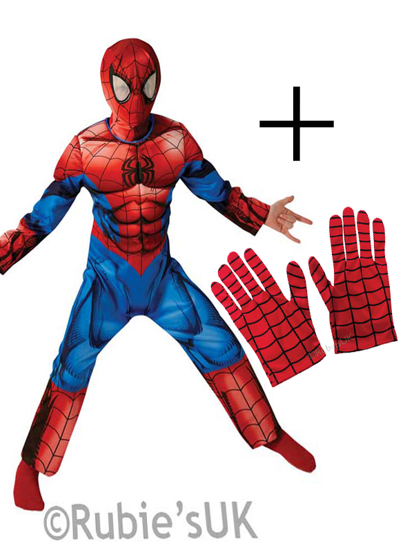 Sentinel Marvel Ultimate Spider-Man Muscle Deluxe Children Boy Halloween Costume + Gloves  sc 1 st  eBay & Marvel Ultimate Spider-Man Muscle Deluxe Children Boy Halloween ...
