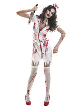 Womens Zombie Nurse Uniform Halloween Fancy Dress Costume + Hat Horror Outfit