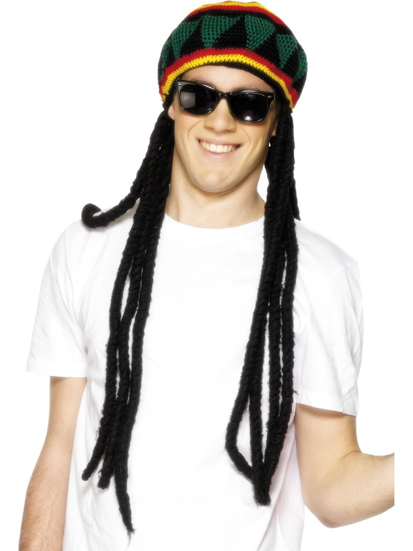 Adult Men's Crochet Rasta Beret with Dreadlocks