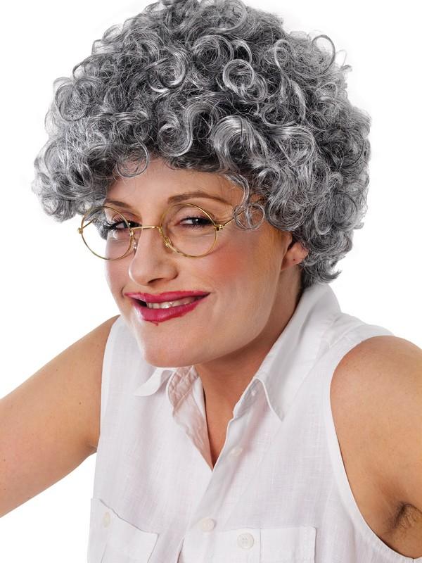 Adult Ladies Old Lady Wig Curly