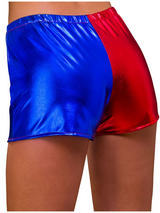 Ladies Shiny Hot Pants Red & Blue