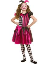 Child Girls Freaky Jester Costume Dress