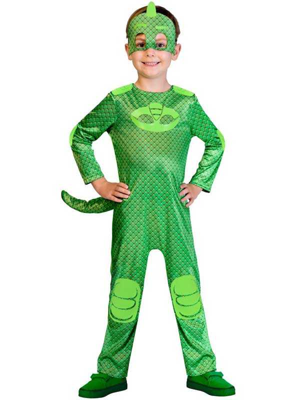 Official UK PJ Masks Boys Gekko Superhero Kids Child New Fancy Dress Costume