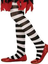 Girls Black And White Striped Tights