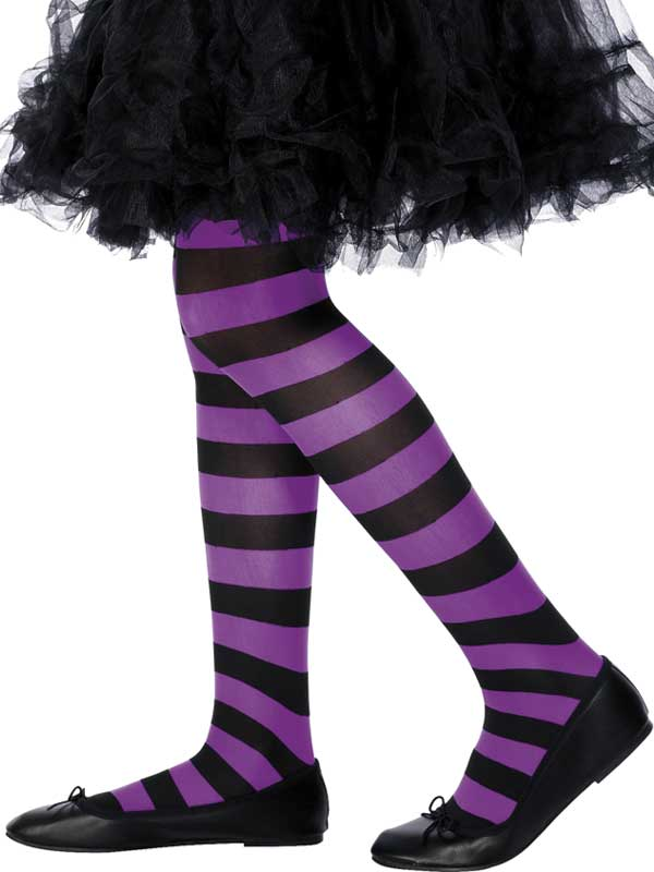 Girls Black And Purple Striped Tights