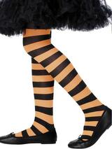 Girls Black And Orange Striped Tights