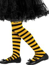 Girls Black And Yellow Striped Tights