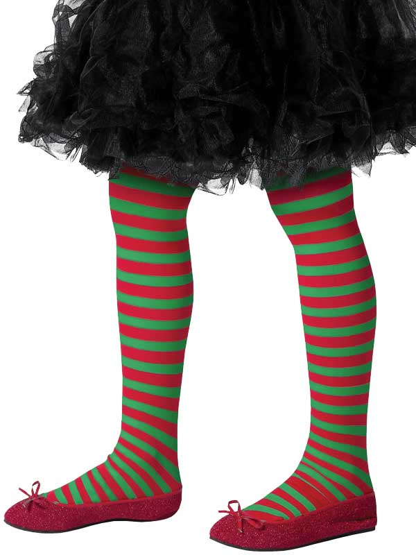 Girls Red And Green Striped Tights