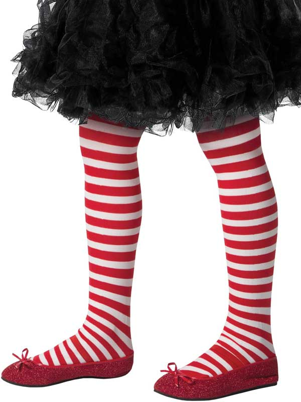 Girls Red And White Striped Tights