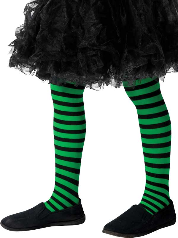 Girls Green And Black Striped Tights