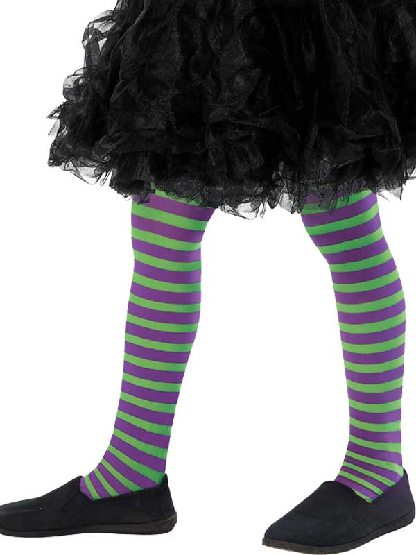 Girls Green And Purple Striped Tights