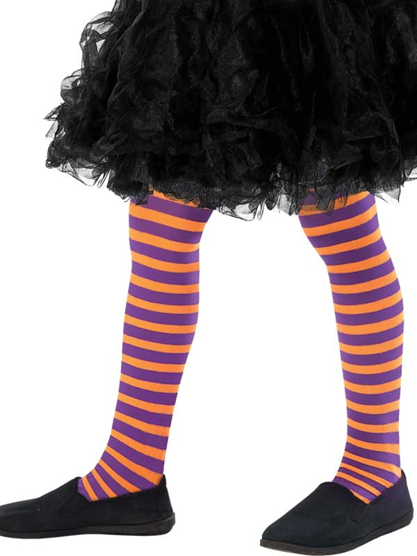 Girls Orange And Purple Striped Tights