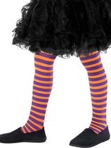 Girls Orange And Purple Striped Tights