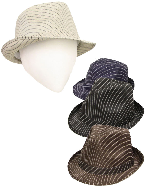 Striped Trilby Hat With Band