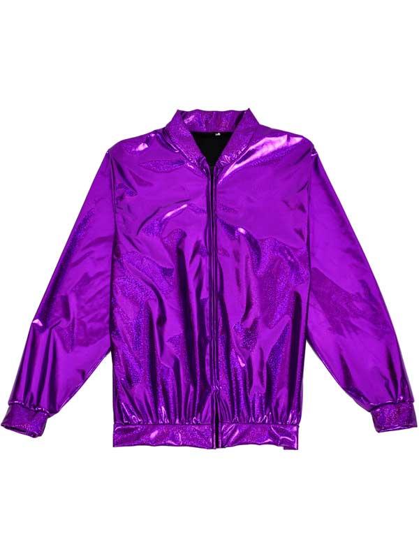1bf170cddb9 Sentinel Holographic Purple Metallic Design L Bomber Jacket Coat Fancy  Dress Festivals