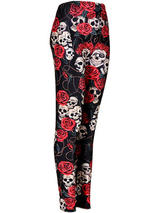 Ladies Skulls And Roses Leggings