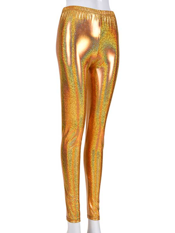Ladies Gold Laser Effect Leggings