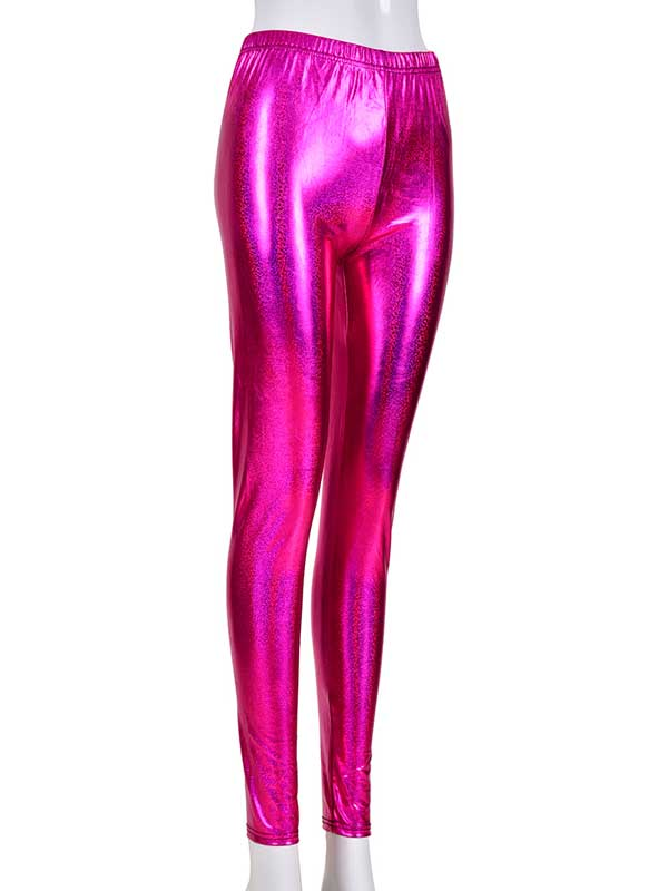 Ladies Pink Laser Effect Leggings